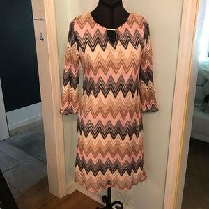 NWOT Pink Gray Beige Tacera Career Dress Size M